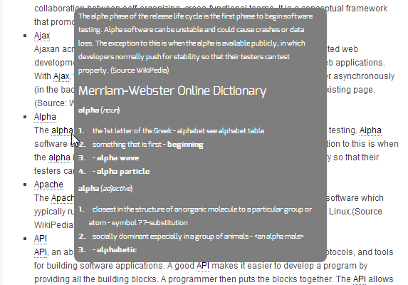 Our plug-in for WP connects a feed directly to the merriam-webster dictionary that displays the definition of a word or phrase in a popup window upon hover over