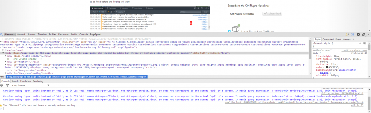 fixing JS errors interrupting with the CM tooltip glossary plugin on the chrome console