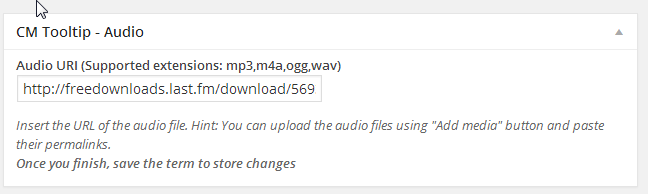 tooltip audioplayer for WordPress in the term page