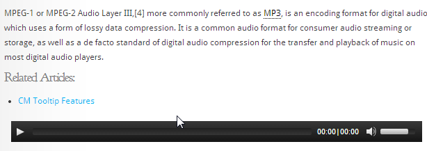 3tooltip audioplayer for WordPress- CM glossary plugin
