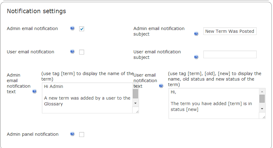 Settings for Term Suggestion Notifications
