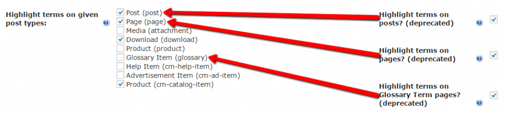 highlight terms on selected post types with CM Tooltip glossary plugin